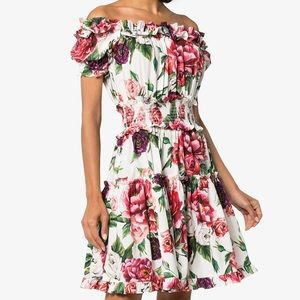 DOLCE & GABBANA off-shoulder peony cotton dress
